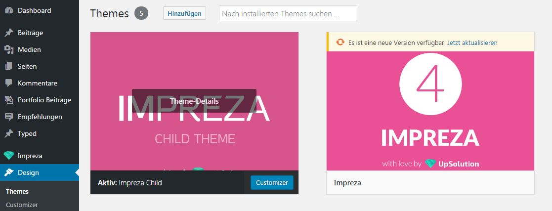 Impreza Theme WordPress installieren